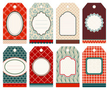 8 Retro Christmas Hangtags Red...