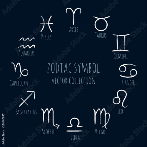 White zodiac symbols vector set, collection of hand painted