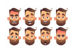 Set of male facial emotions with different expressions vector illustration