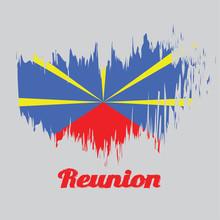 Brush Style Color Flag Of Reun...