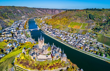 Aerial view of Reichsburg Cochem, a famous castle in Germany
