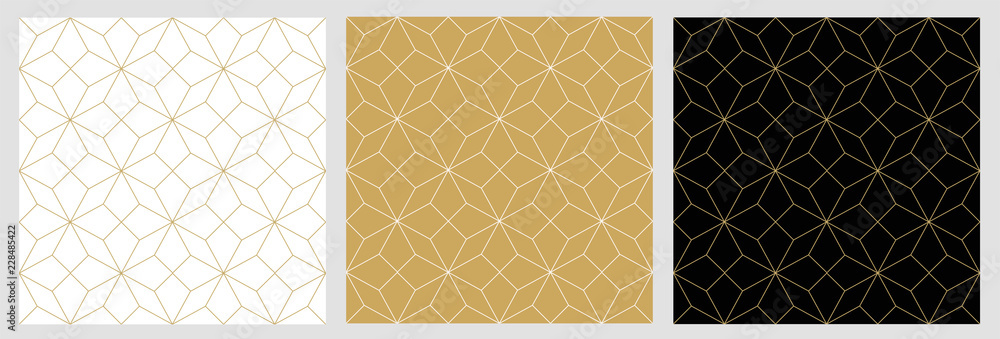 Fototapeta Seamless pattern abstract star christmas background with elegant golden vector lines