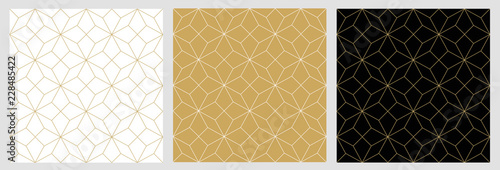 Fototapeta Seamless pattern abstract star christmas background with elegant golden vector lines obraz