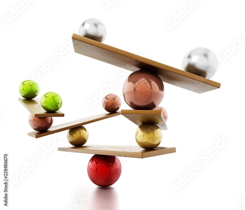 Fototapeta  Balancing spheres standing in balance on seesaws. 3D illustration
