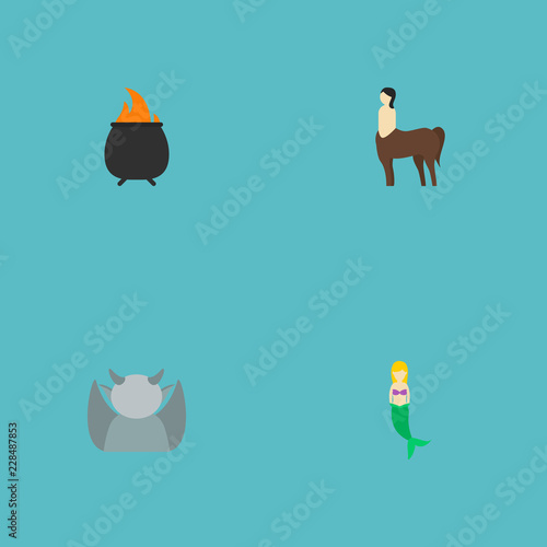 Set of character icons flat style symbols with mermaid, fire