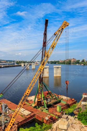 Tuinposter Poort River cargo port in Kiev, Ukraine