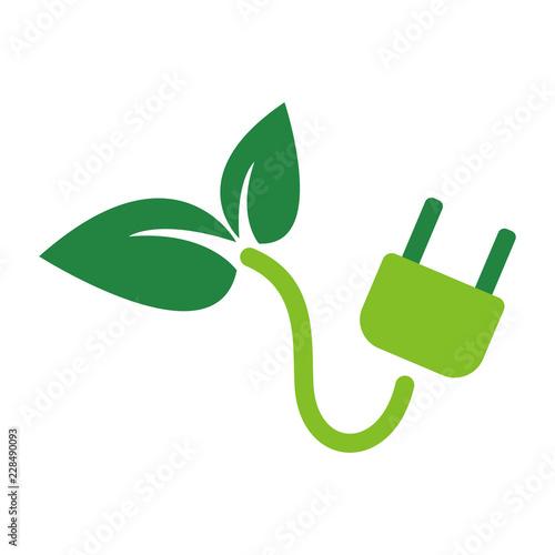 Fotomural Electric plug ecology, ECO, vector illustration. EPS 10.