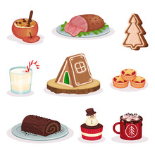 Traditional Christmas Food And Desserts Set, Baked Stuffed Apple, Grilled Ham, Gingerbread Cookies, Chocolate Roll Cake, Cacao With Marshmallow Vector Illustration