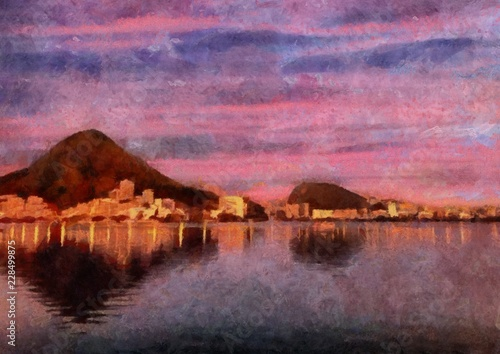 Foto op Aluminium Candy roze Hand drawing watercolor art on canvas. Artistic big print. Original modern painting. Acrylic dry brush background. Wonderful landscape. Beautiful view. Charming resort. Violet paradise. Travel time