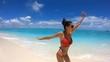 Slow Motion Happy Girl Runs on the Coast of Maldives, 4K