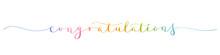 CONGRATULATIONS! Rainbow Brush Calligraphy Banner