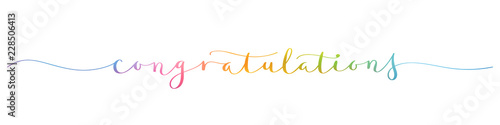 Valokuva  CONGRATULATIONS! rainbow brush calligraphy banner