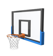 3d Rendering Of A Basketball Hoop With An Empty Basket And Transparent Backboard.