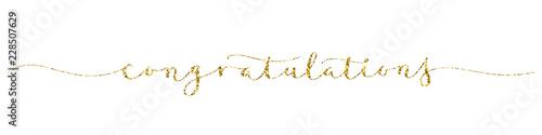 Valokuva  CONGRATULATIONS! gold glitter brush calligraphy banner