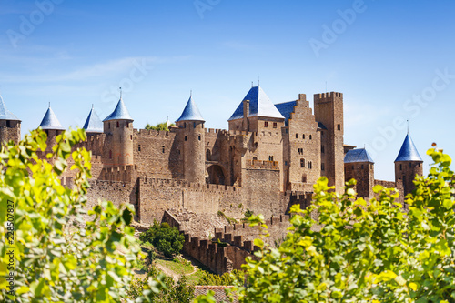 Fototapeta Beautiful view of Carcassonne citadel in France