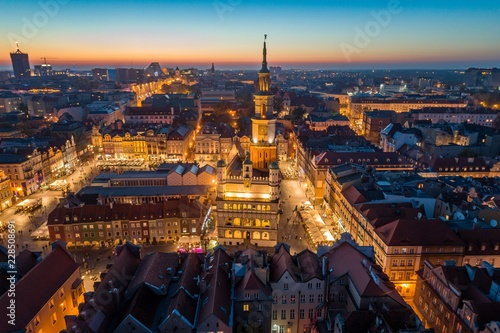 Aerial view on Poznan main square and old city at evening. © Daniel Jędzura