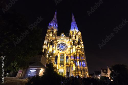 Building facade light festival Chartres