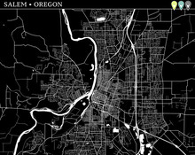 Simple Map Of Salem, Oregon