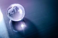 World Globe Crystal Glass Refl...