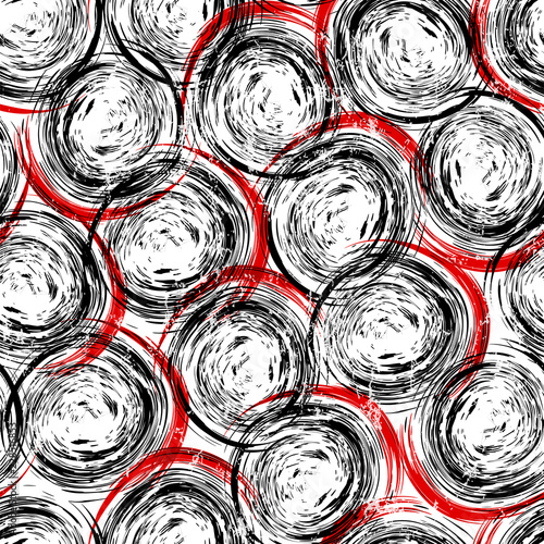 seamless circles and dots background pattern, strokes and splashes, black, white and red