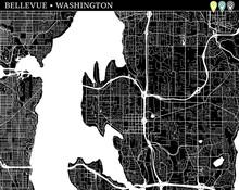 Simple Map Of Bellevue, Washington