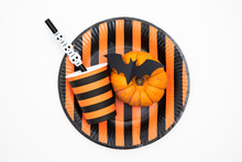 Halloween Party Background With Pumpkins, Spooky Bats