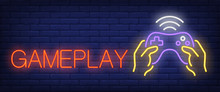 Gameplay Neon Text With Hands ...