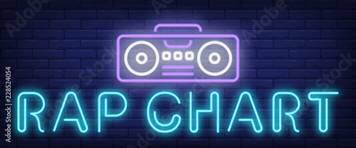 Rap chart neon text with boombox  Modern music and youth culture