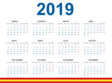 Calendario 2019 En Español. Con Fiestas De España.
