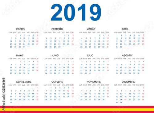 Calendario 2019 Illustrator.Calendario 2019 En Espanol Con Fiestas De Espana Buy