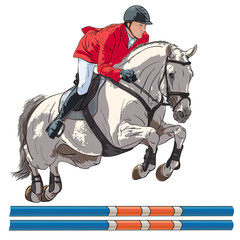 Fototapeta Equestrian, show jumping. An illustration of a rider and horse jumping over an obstacle.