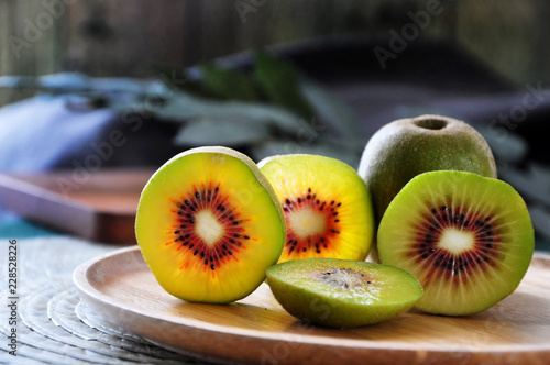 Close up Detail Pieces of Red Kiwifruit on Plate