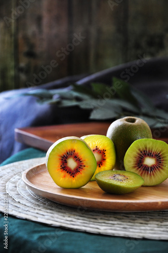 Close up Piece of Red Kiwifruit