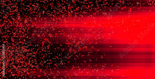 plakat Blurred motion. Red horizontal neon glowing lines with particles on black background. Abstract illustration with glowing blurred lights. Background with shining flares