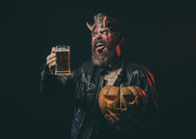 Halloween Devil With Glass Mug Show Tongue