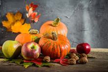 Autumn Harvest Of Pumpkins, Ap...