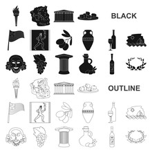 Country Greece Black Icons In Set Collection For Design.Greece And Landmark Vector Symbol Stock Web Illustration.