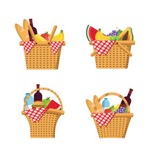 Set Basket With Food And Table...