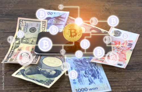 Businessman Shake Hands On Bitcoins And Banknotes Dollars