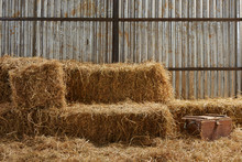 Hay Stacks In Barn House With Zinc Wall