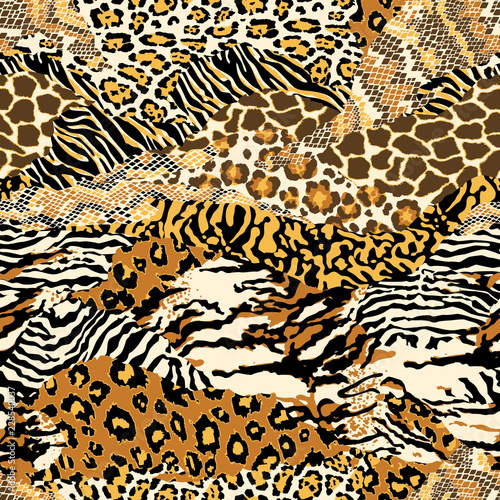 mata magnetyczna Wild animal skins abstract patchwork wallpaper seamless vector pattern