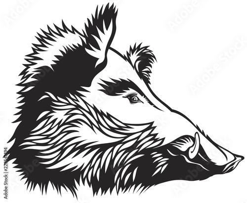 Wild boar head engraver scratchboard drawing style Logo Mascot Emblem Icon Tatto Poster Mural XXL