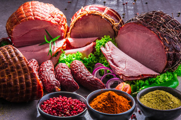 Fototapeta Composition with assorted meat products