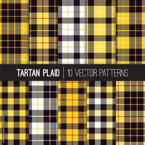 Yellow, Black, White and Red Tartan and Buffalo Check Plaid Vector Patterns. Trendy 90s Style Fashion Textile Prints. Scottish Clan Checkered Fabric Texture. Repeating Pattern Tile Swatch Included.