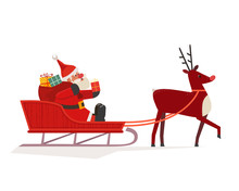 Santa Claus In Sleigh Icon Iso...