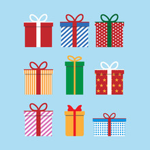 Set Of Colorful Icons Of Gift Boxes. Flat Design For Christmas Present, Love Valentine Present On Blue Background. Vector Illustration.