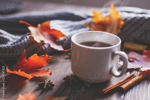 Montage in der Fensternische Kaffee Coffee mug with autumn maple leaves and women's woolen scarf on a wooden table