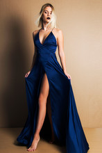 Attractive Blond Woman In Elegant Evening Blue Dress , Fashion Beauty And Make Up Concept