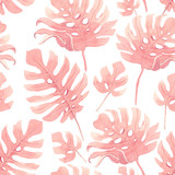 Watercolor tropical palm leaf vector pattern - 228551218
