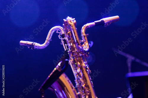 Fotografie, Obraz  A base clarinet and a baritone saxophone sharing a stage in blue stage lights